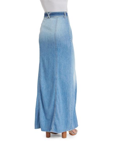 Long Belted Denim Maxi Skirt, Amalfi Sea