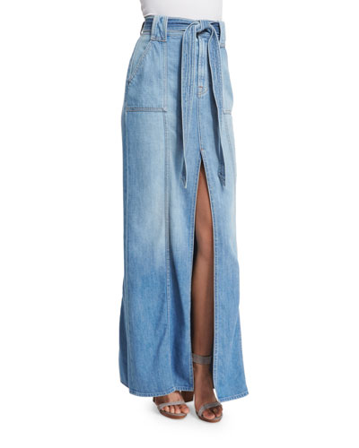 Long Belted Denim Maxi Skirt, Amalfi Sea