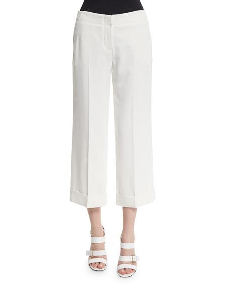 Trina Turk Wide-Leg Cropped Pants, Whitewash