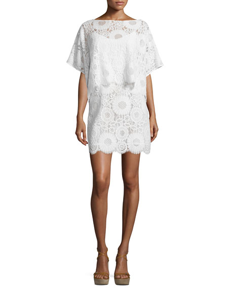 Trina Turk Flutter-Sleeve Lace Popover Sheath Dress