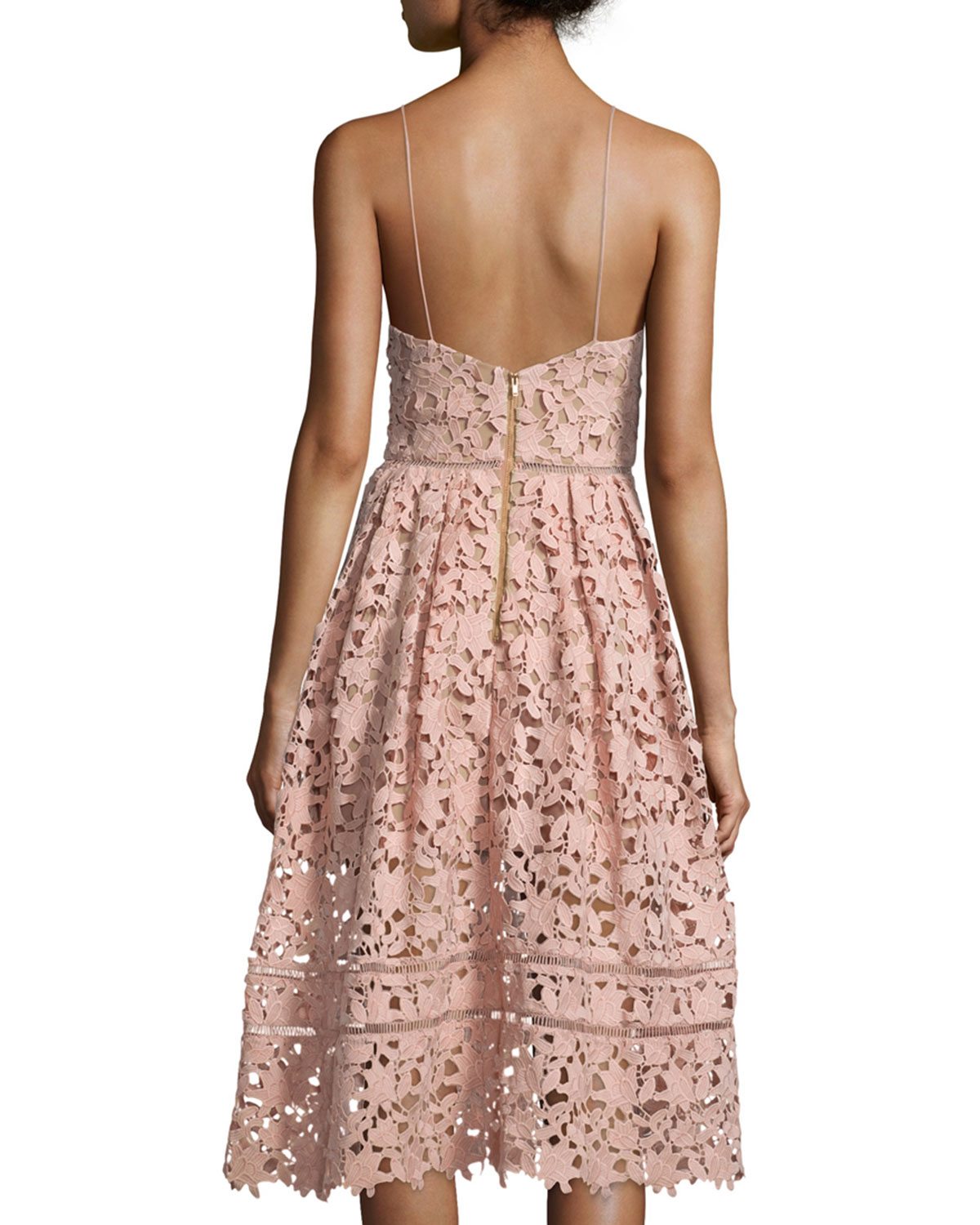 4f0f9be397ae Self-Portrait Azaelea Guipure-Lace Illusion Dress, Pink | Neiman Marcus