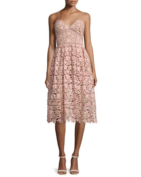 Azaelea Guipure-Lace Illusion Dress, Pink