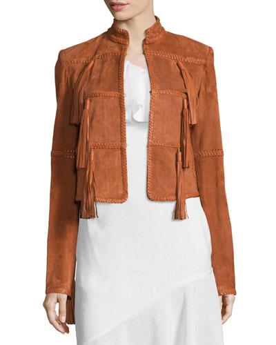 Honor Suede Jacket W/Tassels, Terracotta