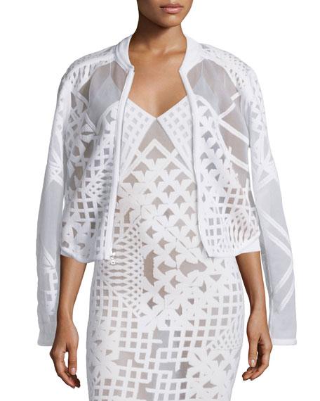 Jonathan Simkhai Geometric Zip-Front Burnout Jacket, White