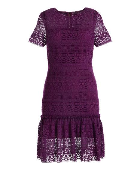 Jacey Lace Short-Sleeve Dress, Garnet