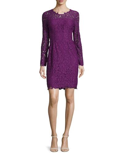 Bellamy Lace Long-Sleeve Dress, Garnet