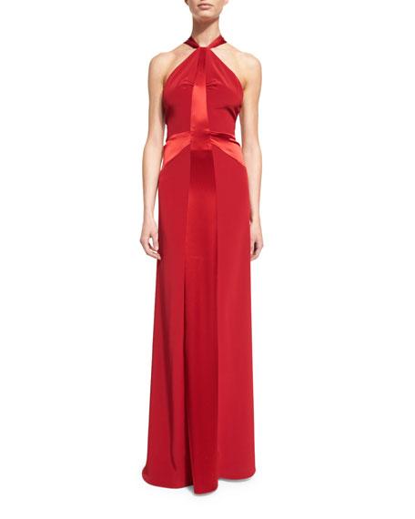 Jill Jill StuartHalter Satin-Strip Gown