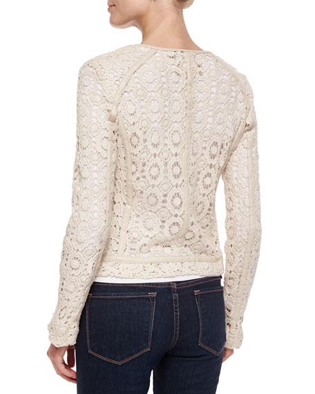 Crochet Jacket with Lambskin Trim, Ecru