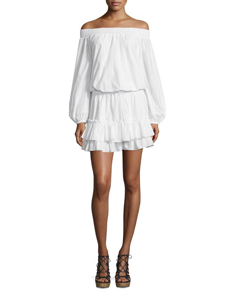 Elizabeth and James Kenji Off-The-Shoulder Blouson Dress, White
