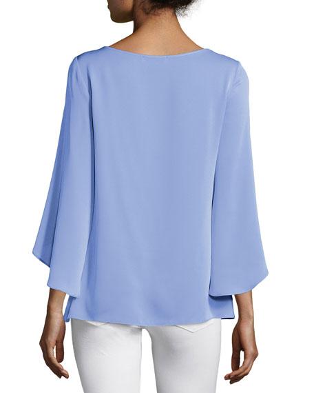 Butterfly-Sleeve V-Neck Blouse, Steel Blue