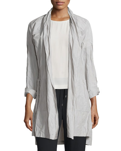 Rumpled Kimono Coat, Silver