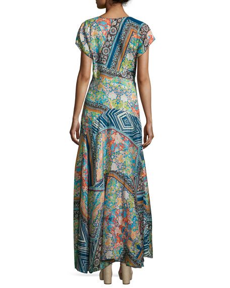 Roseton Short-Sleeve Printed Maxi Dress, Multi Colors, Petite