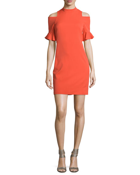 Rebecca Taylor Crepe Cold-Shoulder Sheath Dress, Koi Fish