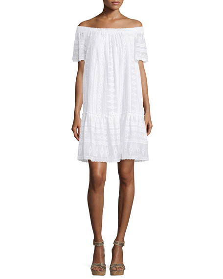 Rebecca Taylor Embroidered Off-the-Shoulder Shift Dress, Sea Salt