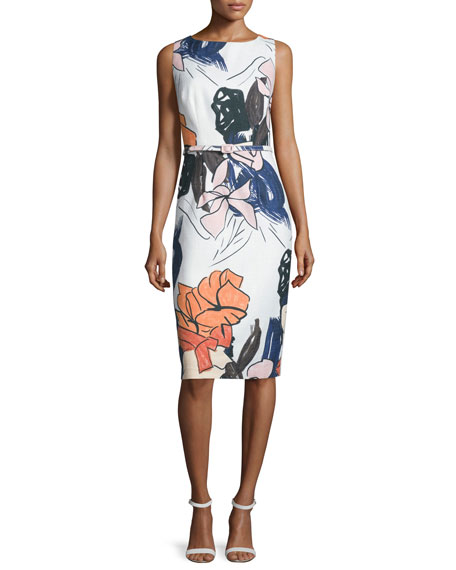 Sleeveless Floral-Print Belted Sheath Dress