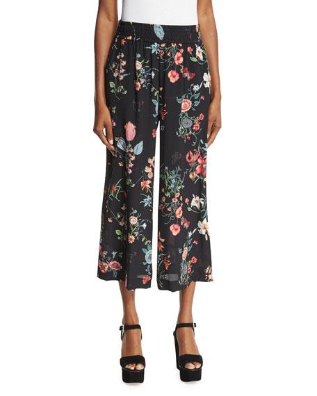 Meadow Floral Silk Pants, Black/Multicolor