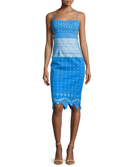 Sleeveless Cutout Sheath Dress, Blue