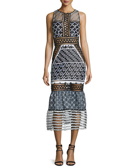 Jonathan Simkhai Sleeveless Mesh-Inset Midi Dress, Black/White