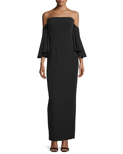 Strapless Off-the-Shoulder Column Gown
