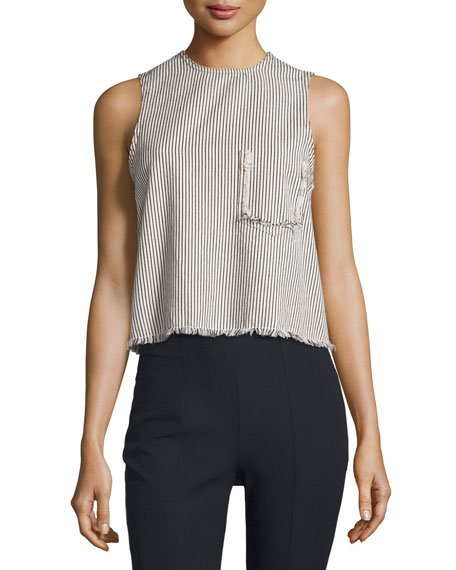 Sleeveless Striped Frayed Cotton Top, Ecru