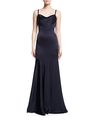Sleeveless Bias-Cut Satin Mermaid Gown, Navy