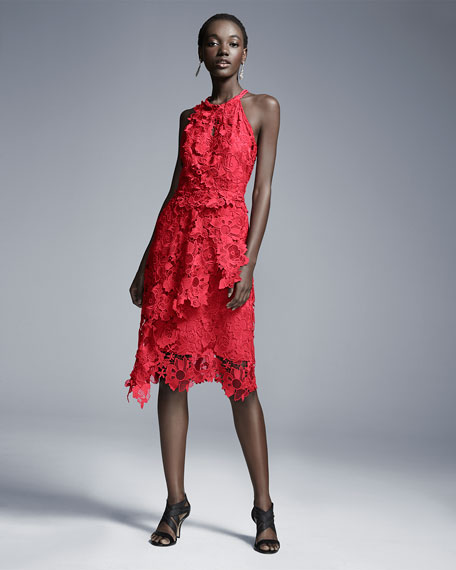 Jade Halter-Neck Blossom-Lace Dress, Crimson