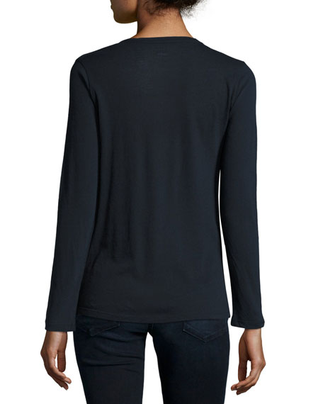 Cotton/Cashmere Long-Sleeve Crewneck Pullover