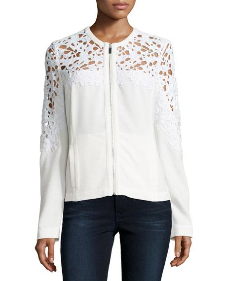Crochet Lace-Inset Bomber Jacket, White Online Cheap