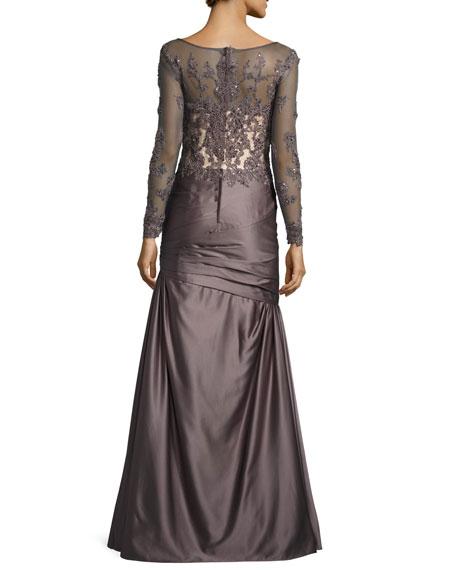 Long-Sleeve Embellished Taffeta Mermaid Gown