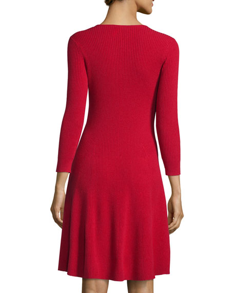Ribbed Cashmere Fit-&-Flare Dress Compare Price