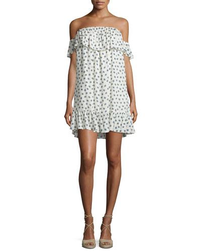 Valentina Off-The-Shoulder Printed Dress, Ivory/Navy