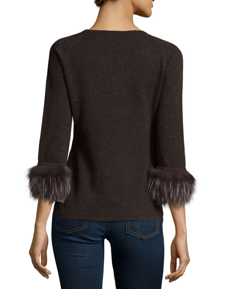 Holiday Sweaters Fur Cuffs: Neiman Marcus Cashmere Collection Cashmere Boatneck