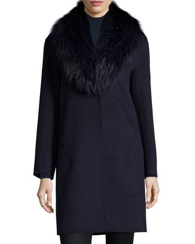 Double-Face Cashmere Coat w/ Fox Fur Collar