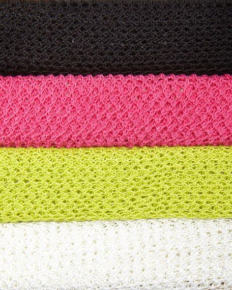 Joan Vass Plus Size Mesh Striped Sweater