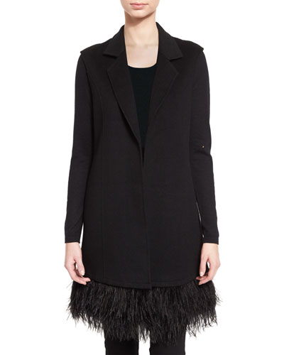 Double-Face Cashmere Vest w/ Ostrich Feather Trim