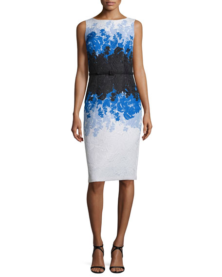 David Meister Sleeveless Floral Ombre Sheath Dress