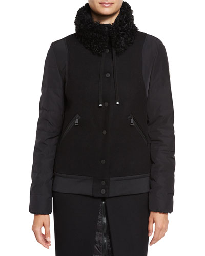 Kyriake Varsity Jacket w/Shearling Fur Collar, Black