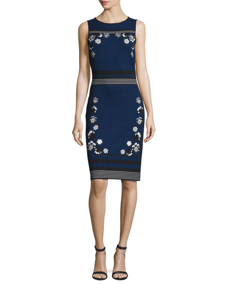 sleeveless knit intarsia sheath dress, new navy