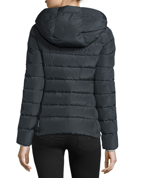 Idrial Hooded Short Puffer Jacket, Charcoal