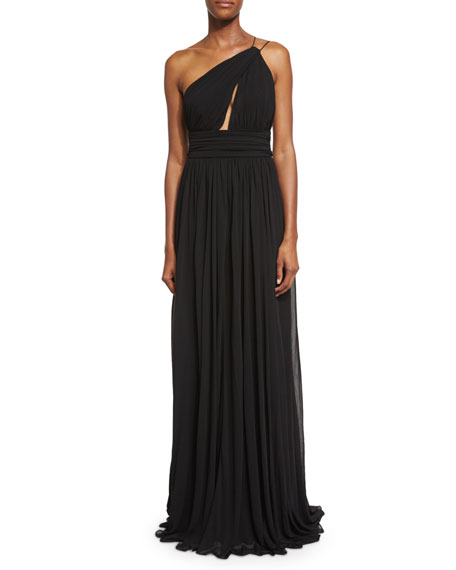Michael Kors CollectionCap-Sleeve Funnel-Neck Maillot Gown, Black