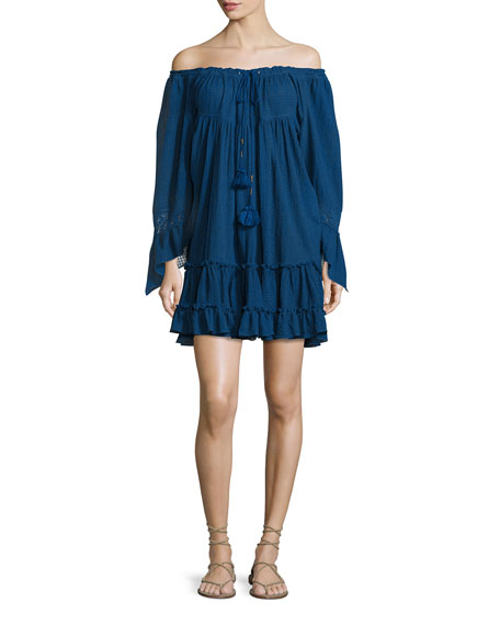 Jeanie Off-The-Shoulder Mini Dress, Victoria Blue