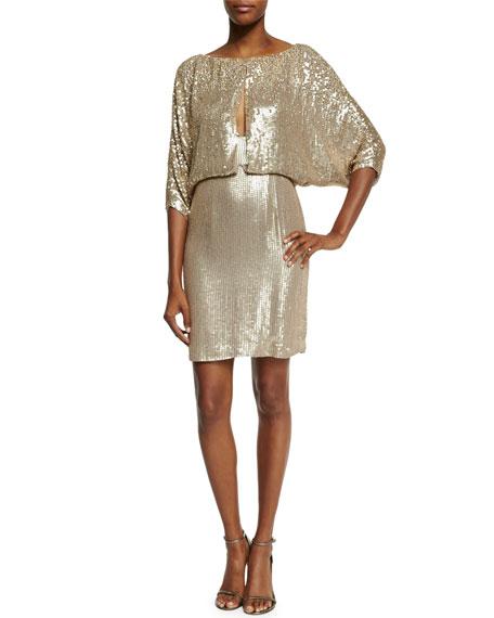 Jenny Packham 3/4-Sleeve Draped-Bodice Cocktail Dress, Dawn Gold