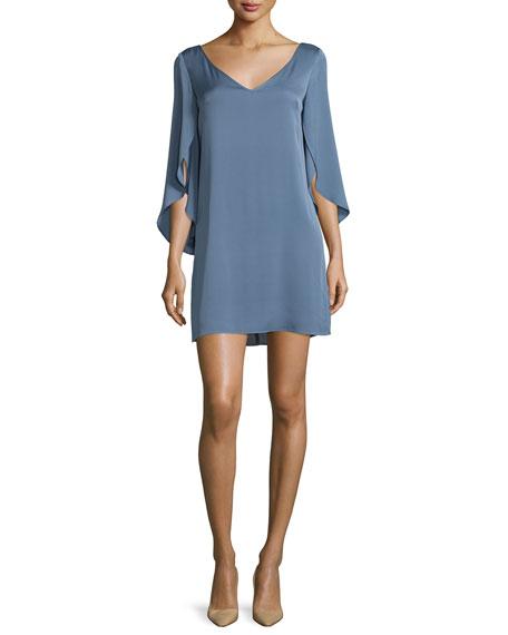 Milly Split-Sleeve Silk Crepe Dress, Steel Blue   Neiman Marcus
