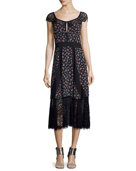Nanette Lepore Cap-Sleeve Floral Silk & Lace Midi