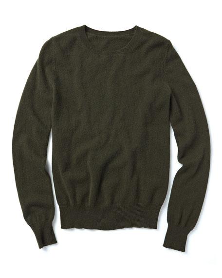 Neiman Marcus Cashmere Collection Long-Sleeve Crewneck Cashmere Sweater