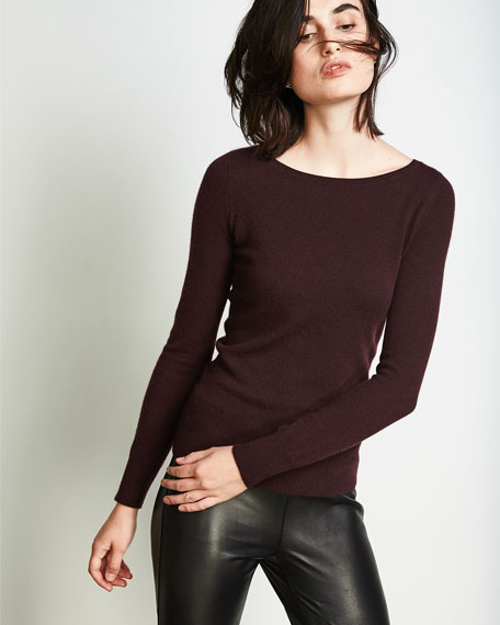 Long-Sleeve Bateau-Neck Cashmere Top