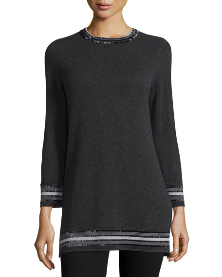 Neiman Marcus Cashmere Collection Bead-Trim Cashmere Sweater