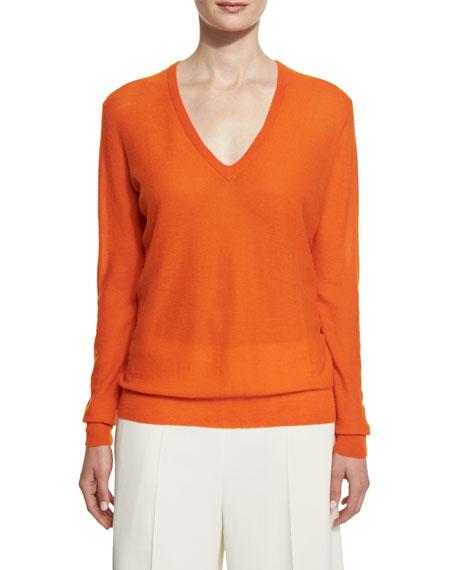 Blouson Cashmere V-Neck Sweater, Tangerine