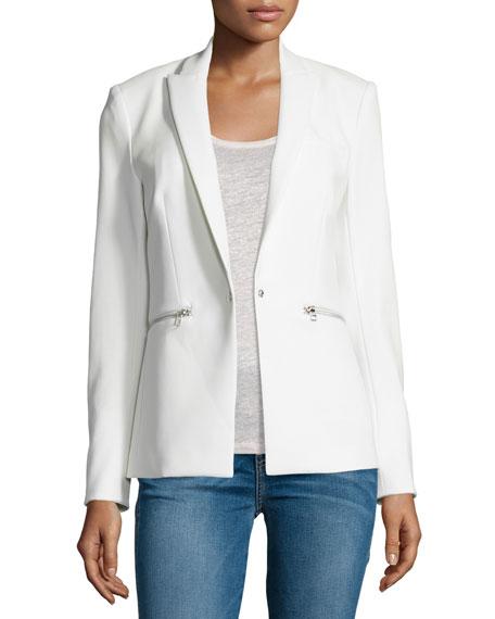 Veronica Beard Zip-Pocket Scuba Jacket, White