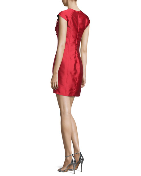 Cap-Sleeve Embellished Cocktail Dress, Raspberry